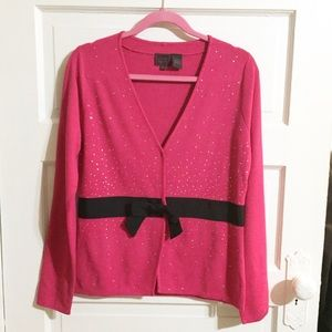 Colour Works Red Sparkle Cardigan Sweater -Sz M